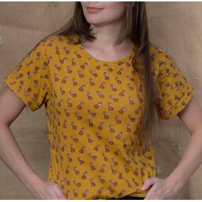 Camiseta Color Mostaza Para Mujer De Piñas Hermosa Talla S M