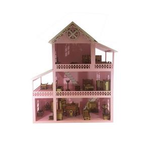 Casinha De Boneca Mobiliada Decorada Rosa E Branca Mdf Mod 1
