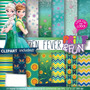 Kit Imprimible Pack Fondos Frozen Fever Clipart