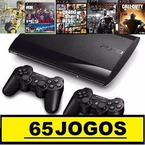 Ps3 Slim 320 Gb C/ Pes2017+65 Jogos No Hd +2 Controles