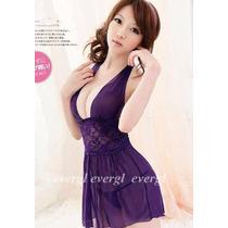 Babydolls Purple Morado Vestido Mini Sexy +tanga