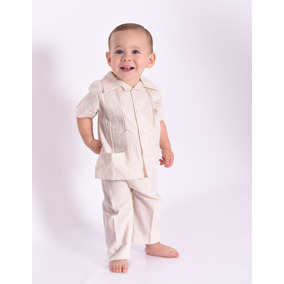 Guayabera Lino Conjunto Con Pantalon Bebé Cruz