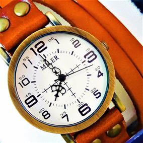 Relógio Pulseira Feminino Couro Terracota Vintage Exclusivo