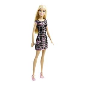 Barbie Basica Surtido Vestido Negro Con Cuadrados Y Flores