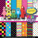 Kit Imprimible Pack Fondos Yo Gabba Gabba Clipart