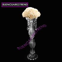 Pie De Topiario Vidrio 40cm Arreglo Floral Salones 40cm