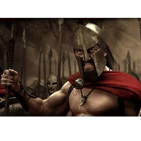 Lança + Capacete 300de Esparta Fantasia Grega Romana Gladiad