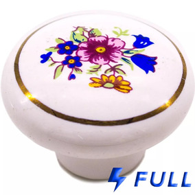 Puxador Decorativo Porcelana Gaveta Porta 40mm Parafuso