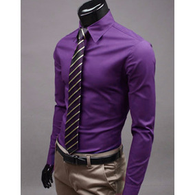 Camisa Para Hombre Manga Larga Slim Fit Color Violeta