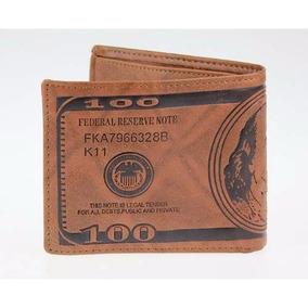 Carteira Masculina 100 Dolares Importada Original Em Couro