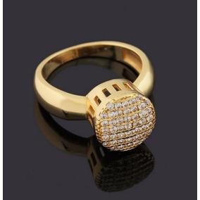 Anel Banhado A Ouro 18k Chuveirinho Com Pedras Zirconias