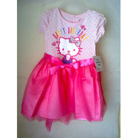 Vestido Hello Kitty Cumpleaños Tutú Satín Algodón 18 Meses