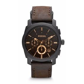 Reloj Fossil Machine Fs4656 Negro/café Crono Piel Caballero*