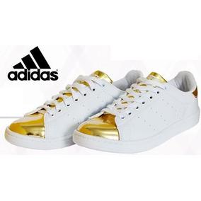 Tênis adidas Stan Smith Branco Com Dourado 2c08ee0f5983e