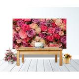 Painel Tecido 3x1,7m Decoracao Tema Rosas Cor De Rosa Flores