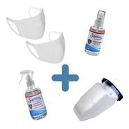 Kit Sanitario: 2 Barbijos/ Mascara / 2 Spray Sanitizantes°