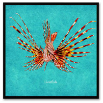 Lionfish Animal Aqua Print On Canvas With Picture Frame, 30