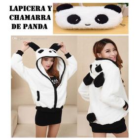 Panda Kawaii Chamarra Capucha Y Lapicera Peluche Felpa Cute