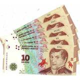 Lote 5 Billetes $ 10 Argentina Corr. Sin Circular Barilo