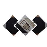 Quadro Triangular Com 3 Telas E Colagem Em Mdf Recortado