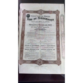 Apólice Etat De Pernambuco - 1909