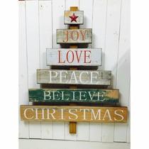 Cartel Colgante D Madera Feliz Navidad Merry Christmas Arbol