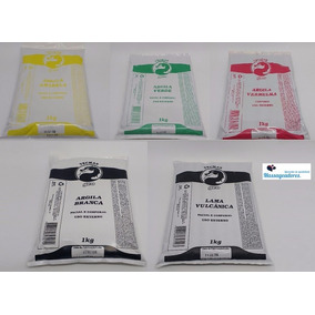 Kit Com 5 Argilas Medicinais 100% Natural Geo