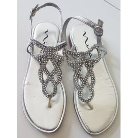 Sandalias Nena Plateadas Con Strass Importadas De Usa 24cm