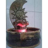 Fonte De Água Em Pedra Sabão * Modelo Eclipse C Luzes De Led