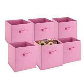 Pink - 6 Pc Inicio Caja Hogar Organizador Tela Cubo Cub-5644