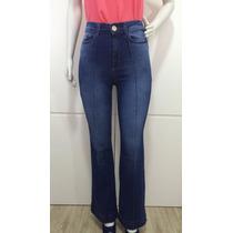 Calça Jeans Feminina Flare Cintura Alta Rasgada E Desfiada