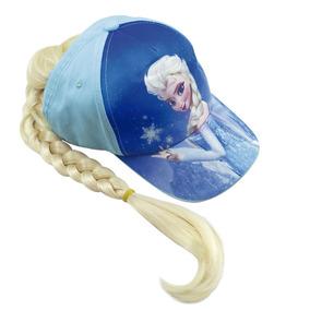 Boné Infantil Azul Elsa Com Cabelo Frozen - Disney