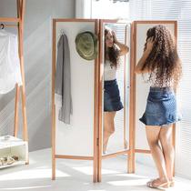 Biombo Ammy Com Espelho E 3 Asas Em Mdf Branco / Jatobá