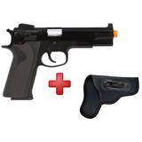Pistola Airsoft Spring Kwc M4505 Black + Coldre Neoprene 765
