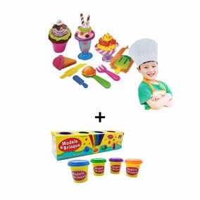 Brinquedo De Modelar Com 16 Acessorios + Kit Com 4 Massinha