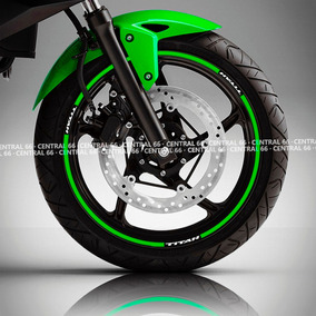 Friso Honda Titan 160 Verde Refletivo Adesivo Filete Roda