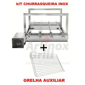 Churrasqueira Inox Giratorio Gira Grill 4 Espetos+grelha Aux