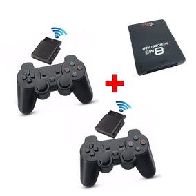 Kit 2 Controle Ps2 Sem Fio Memory Card 8mb Sfi Frete Grátis
