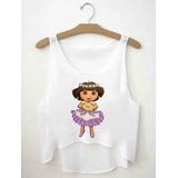 Regatinha Cropped Blusas Femininas Dora Aventureira Havaiana