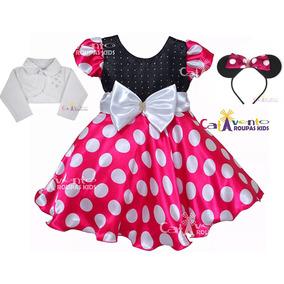Vestido Fantasia Minnie Pink 1 A 12 Com Bolero E Tiara Minie