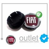 Sub Calota Centro Miolo De Roda Fiat Logo Vermelho 48mm