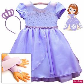 Vestido Fantasia Princesa Sofia Rapunzel Infantil Luxo