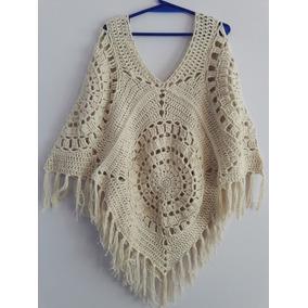 Poncho Artesanal Tejido Crochet Con Flecos Hilo Algodón