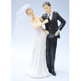 Boneco De Bolo Casamento Noiva Puxando A Gravata Noivo D060