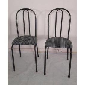 Conj 2 Cadeiras Vitória Crq Pto C/ Assento List (mostruário)