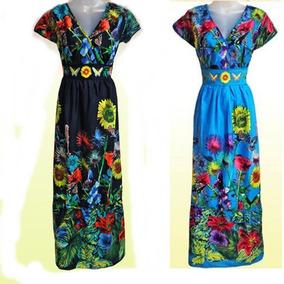 Vestido Longo Estampado Estampa Floral Festa Bordado