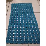 Tapete Para Corredor Ou Quarto Flores Em Crochê Azul