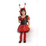 Vestido Fantasia Infantil Joaninha Menina Com Frete Grátis