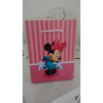 Kit Com 10 Sacolinhas Personalizadas Minnie Rosa