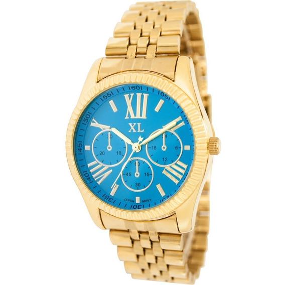 Reloj Xl Extra Large Moda Metal Dama Xl328 Dorado